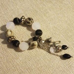 Black and white large bead bracelet